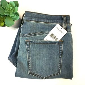 Free People High Rise Dusty Blue Skinny Jeans 31